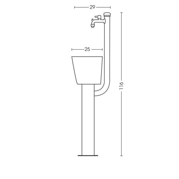 Dimensioni della fontanella 42/ARC
