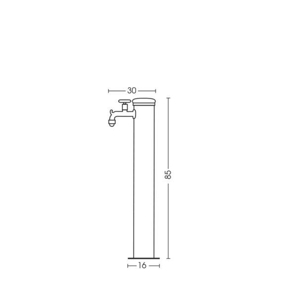 Dimensioni della fontanella 42/ARRF