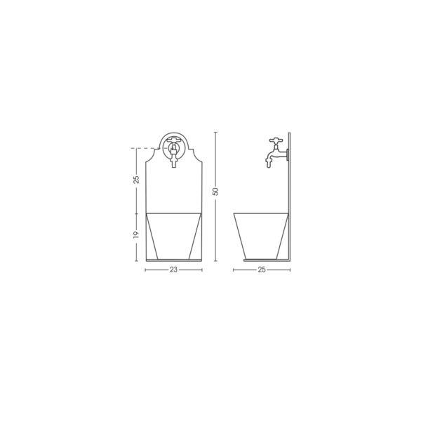 Dimensioni della fontanella 42/PR