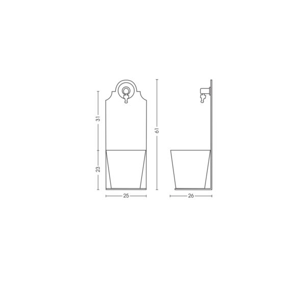 Dimensioni della fontanella 42/PRX
