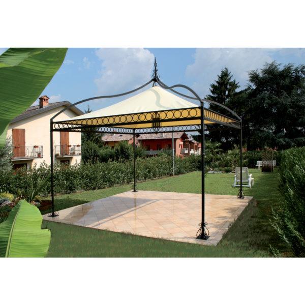 GAZ2: Pagoda quadrata o rettangolare con decoro perimetrale a cerchi, struttura in ferro, telo in PVC 700gr/mq colore avorio