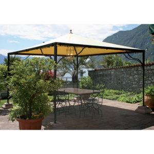 GAZ3: Pagoda quadrata o rettangolare con pali superiori sotto telo, struttura in ferro, telo in PVC 700gr/mq colore avorio