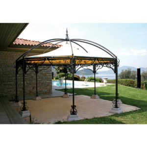 GAZ5: Pagoda esagonale, struttura in ferro, telo in PVC 700gr/mq colore avorio