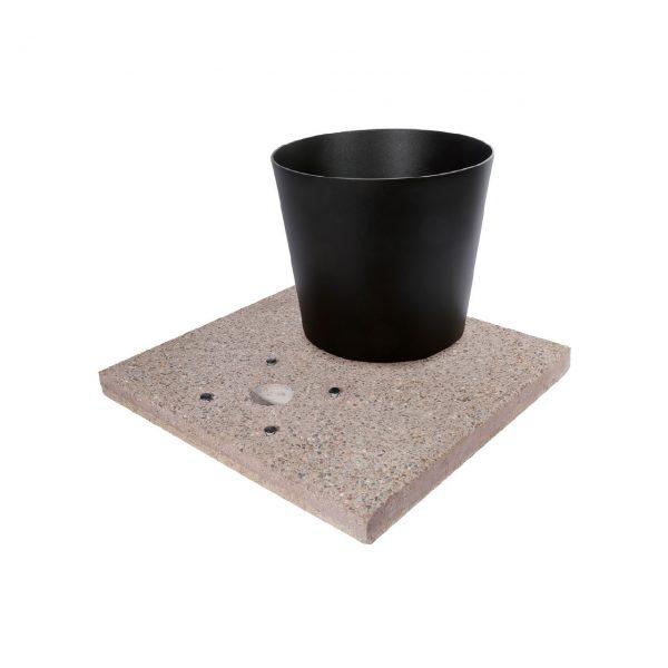Base in graniglia di cemento per fontane da giardino completa di vaschetta con piletta di scarico