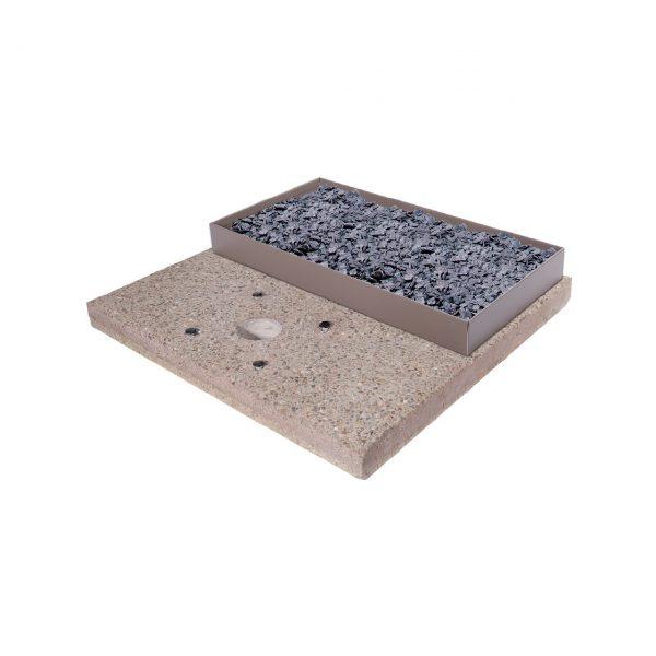 Base in graniglia di cemento per fontane da giardino completa di contenitore per riempimento ciottoli