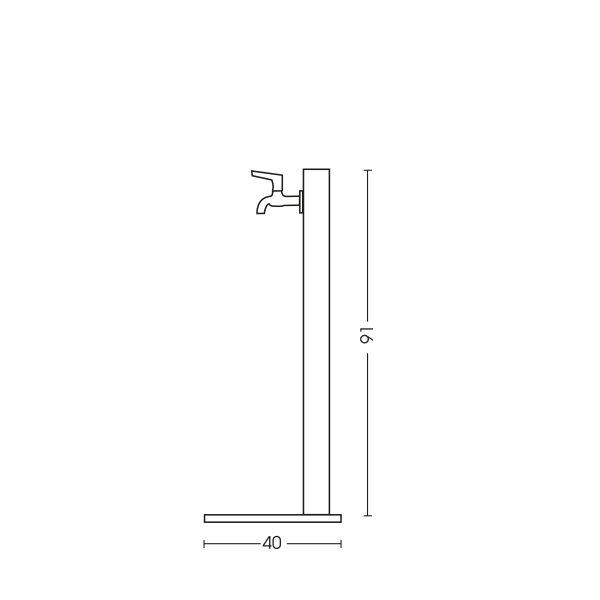 Dimensioni della fontana 42/QBM: H. 91 x L. 40 x P. 40 cm