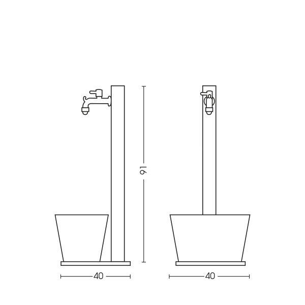 Dimensioni della fontana 42/QRV: H. 91 x L. 40 x P. 40 cm