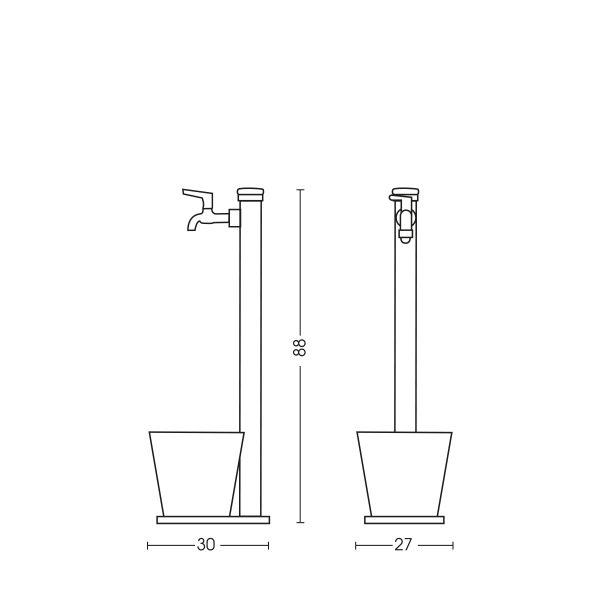 Dimensioni della fontana 42/SRV: H. 88 x L. 27 x P. 30 cm