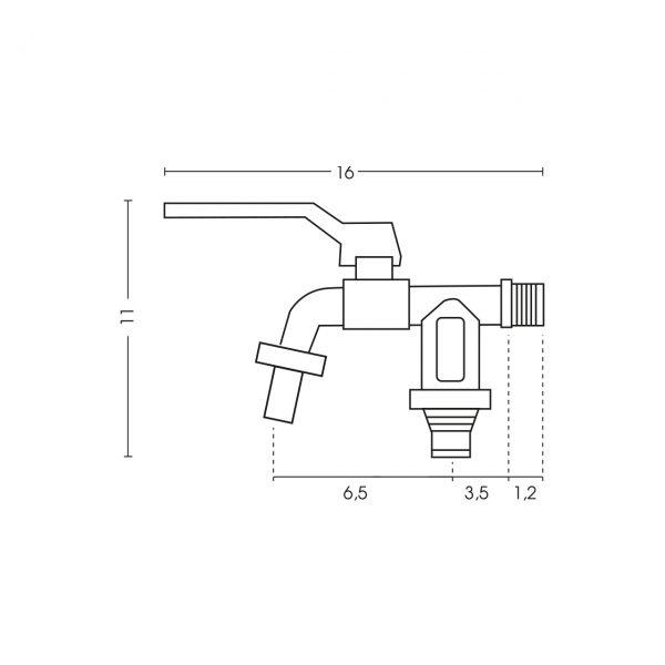 Dimensioni del rubinetto per fontane da giardino RUB/027